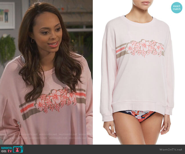James Crewneck Pullover Fleece Sweatshirt by Xirena worn by Claire (Amber Stevens West) on Happy Together