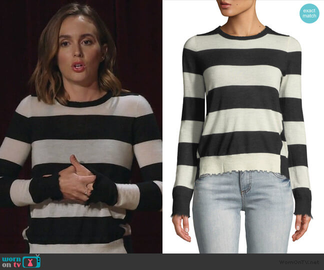 Source Striped Cashmere Frayed Sweater by Zadig & Voltaire worn by Angie (Leighton Meester) on Single Parents