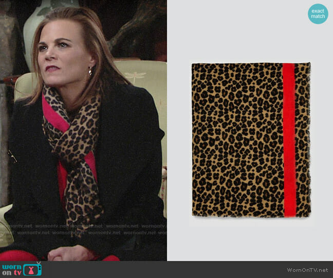 Zara Animal Print Scarf worn by Phyllis Newman (Gina Tognoni) on The Young & the Restless