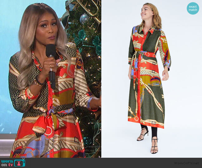 Belt Print Tunic by Zara worn by Eve  on The Talk
