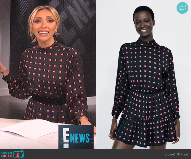 Polka Dot Dress Jumpsuit with Ruffle by Zara worn by Giuliana Rancic  on E! News