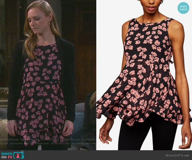 Maternity Floral-Print Peplum Top by A Pea in the Pod worn by Kate Mansi on Days of our Lives