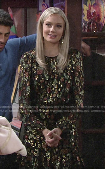 Abby's metallic floral dress on The Young and the Restless
