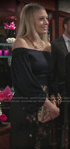 Abby's navy floral off-shoulder dress on The Young and the Restless