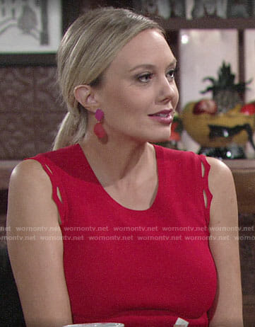 Abby's red dress with zig zag trim on The Young and the Restless