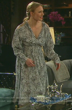 Abigail's paisley print cold shoulder dress on Days of Our Lives