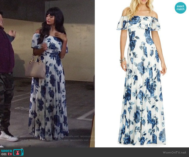 After Six Floral Chiffon Off the Shoulder Gown worn by Tahani Al-Jamil (Jameela Jamil) on The Good Place