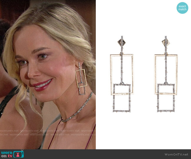 Alexis Bittar Brutalist Butterfly Crystal Encrusted Linear Earrings worn by Donna Logan (Jennifer Gareis) on The Bold & the Beautiful