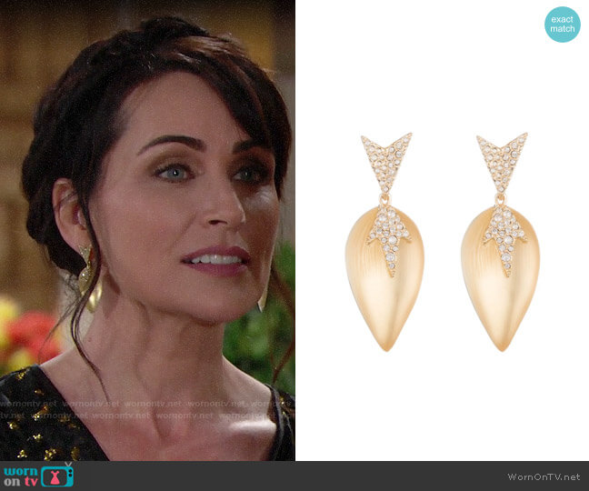 Alexis Bittar Crystal Encrusted Dangling Starburst Post Earring worn by Quinn Fuller (Rena Sofer) on The Bold & the Beautiful