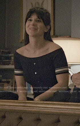 Ali's off-shoulder top with striped sleeves on Madam Secretary