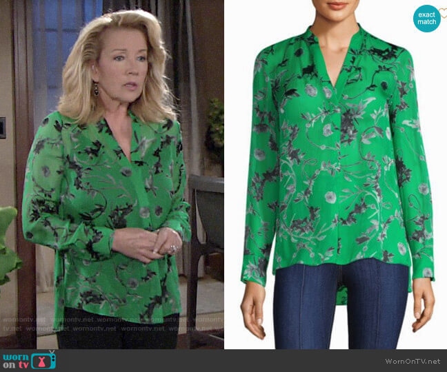 Alice + Olivia Amos Silk Tunic worn by Nikki Reed Newman (Melody Thomas-Scott) on The Young & the Restless