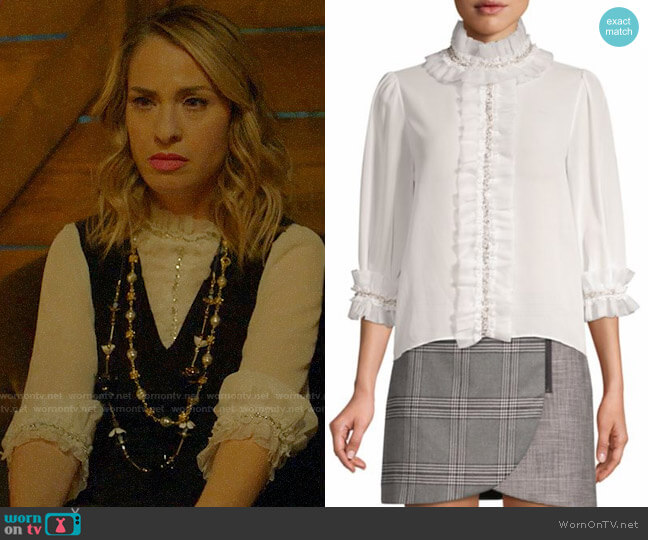 Alice + Olivia Mira Blouse worn by Coco St. Pierre Vanderbilt (Leslie Grossman) on American Horror Story