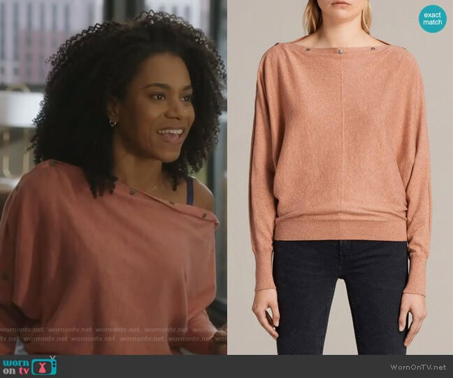 Elle Sweater in Pink by All Saints worn by Maggie Pierce (Kelly McCreary) on Greys Anatomy