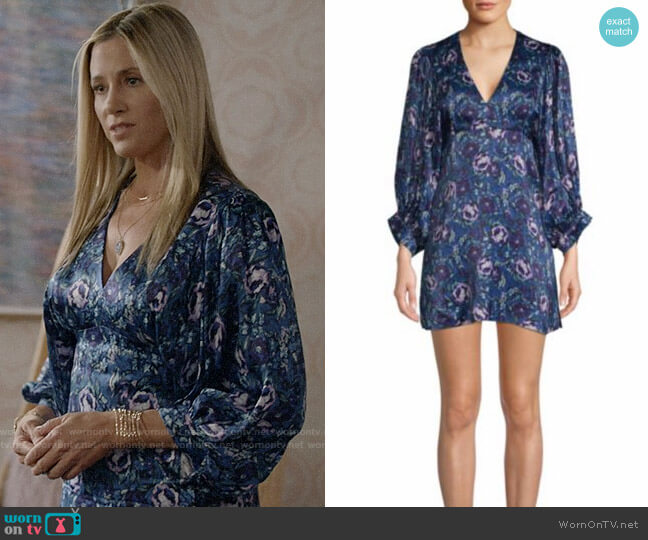 AMUR Steph Floral Puff-Sleeve Mini Dress worn by Mira Sorvino on Modern Family