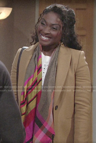 Ana's camel coat on The Young and the Restless