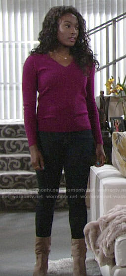 Ana's magenta v-neck sweater and boots on The Young and the Restless