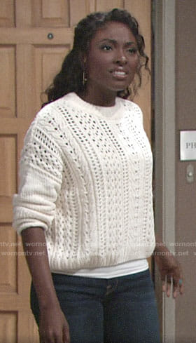 Ana's white pointelle sweater on The Young and the Restless