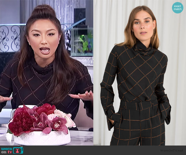 Checked Turtleneck Blouse by & Other Stories worn by Jeannie Mai (Jeannie Mai) on The Real