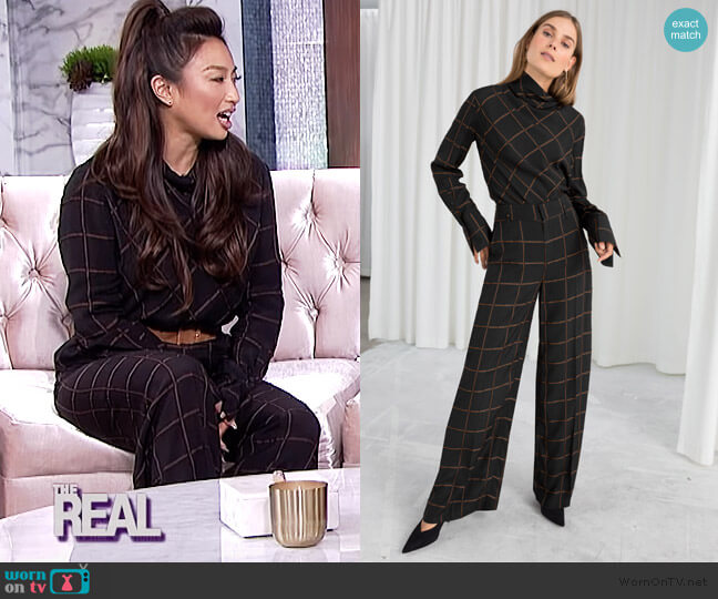 Wide Checked Pants by & Other Stories worn by Jeannie Mai  on The Real