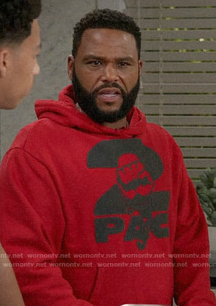 Andre's red 2pac hoodie on Black-ish