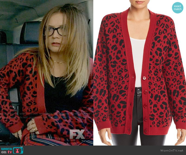 Anine Bing Justine Leopard Cardigan worn by Mallory (Billie Lourd) on American Horror Story