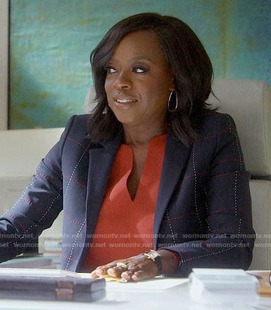 Annalise's black checked blazer on How to Get Away with Murder