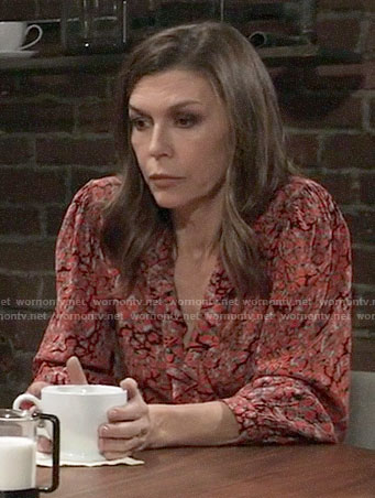Anna's red leopard print wrap top on General Hospital