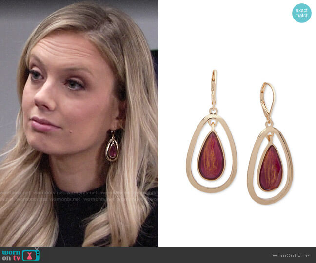 Anne Klein Gold-Tone Stone Orbital Drop Earrings worn by Abby Newman (Melissa Ordway) on The Young & the Restless