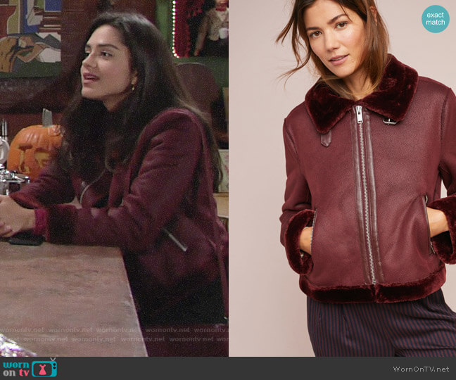 Anthropologie Costello Moto Jacket worn by Sasha Calle on The Young & the Restless