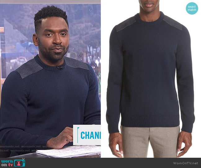 Karlheinz Sweater by APC worn by Justin Sylvester  on E! News