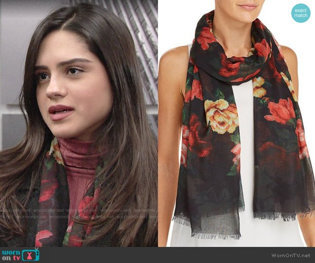 Aqua Floral Needlepoint-Print Scarf worn by Lola Rosales (Sasha Calle) on The Young & the Restless
