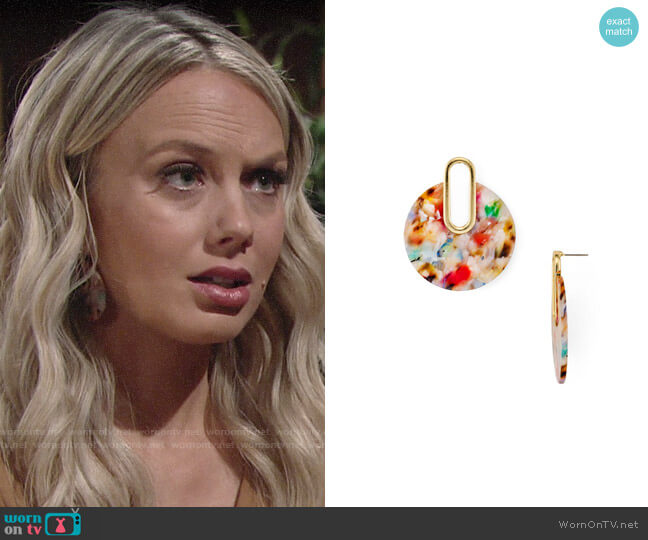 Aqua Multicolor Marled Drop Earrings worn by Abby Newman (Melissa Ordway) on The Young & the Restless
