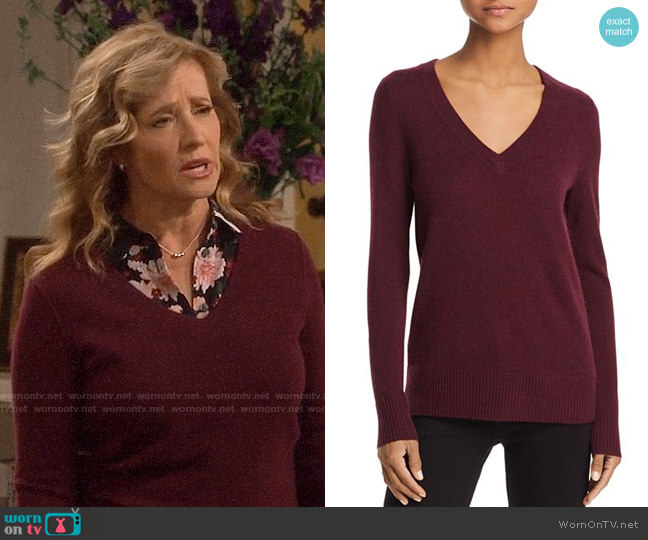 Aqua V-Neck Cashmere Sweater in Heather Burgundy worn by Vanessa Baxter (Nancy Travis) on Last Man Standing