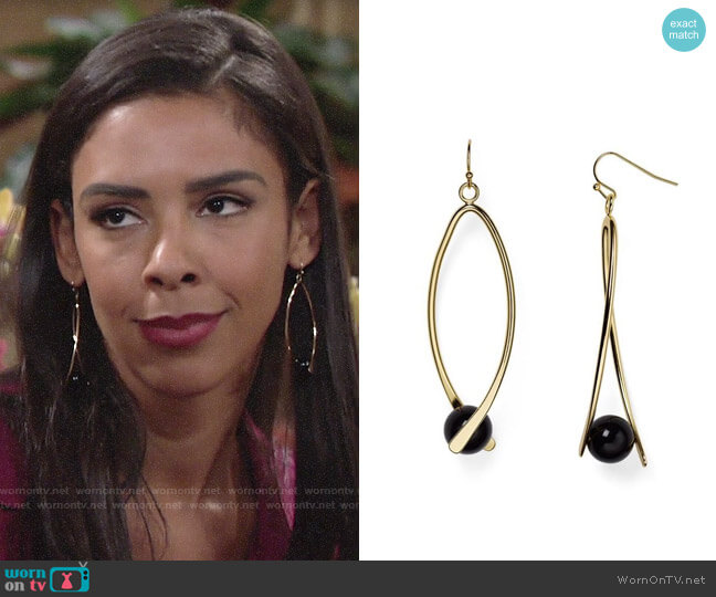 Aqua Kylie Linear Drop Earrings worn by Kerry Johnson (Alice Hunter) on The Young & the Restless