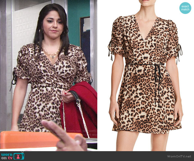 Aqua Leopard Print Wrap Dress worn by Mia Rosales (Noemi Gonzalez) on The Young & the Restless
