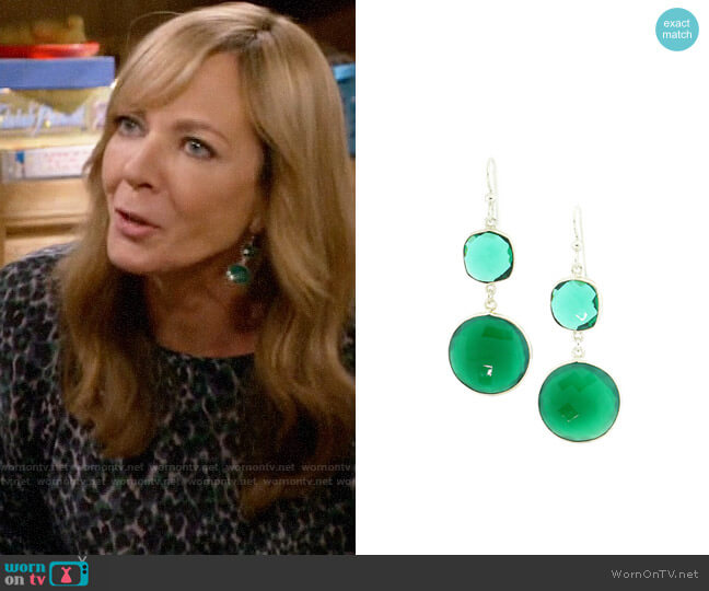 Arte Designs Green Onyx and Quartz Earrings worn by Bonnie Plunkett (Allison Janney) on Mom