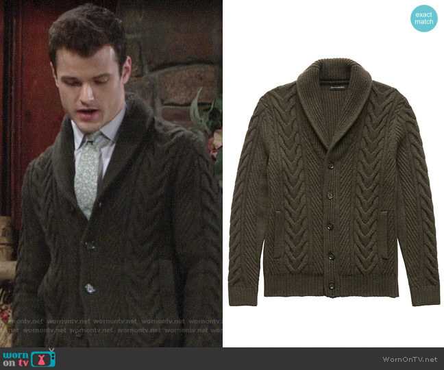 Banana Republic Cable-Knit Shawl-Collar Cardigan Sweater worn by Kyle Abbott (Michael Mealor) on The Young & the Restless