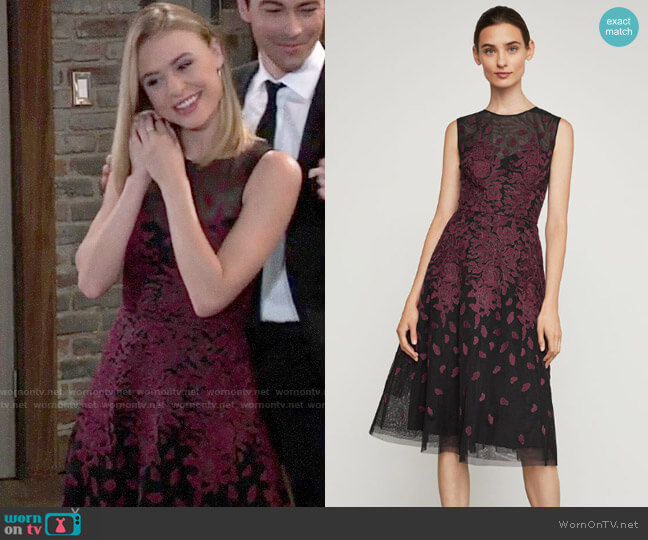 Bcbgmaxazria Floral Embroidered Evening Dress worn by Kiki Jerome (Hayley Erin) on General Hospital