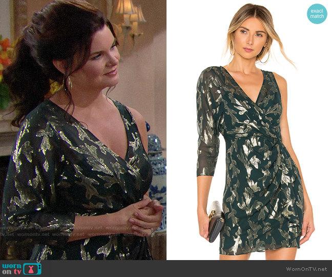 Bcbgmaxazria Asymmetric Faux Wrap Dress worn by Katie Logan (Heather Tom) on The Bold & the Beautiful