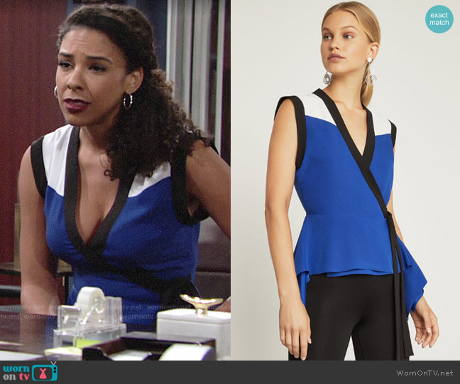 Bcbgmaxazria Colorblock Wrap Top worn by Kerry Johnson (Alice Hunter) on The Young & the Restless