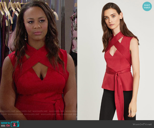 Bcbgmaxazria Criss Cross Wrap Tie Top worn by Nia Sioux on The Bold & the Beautiful