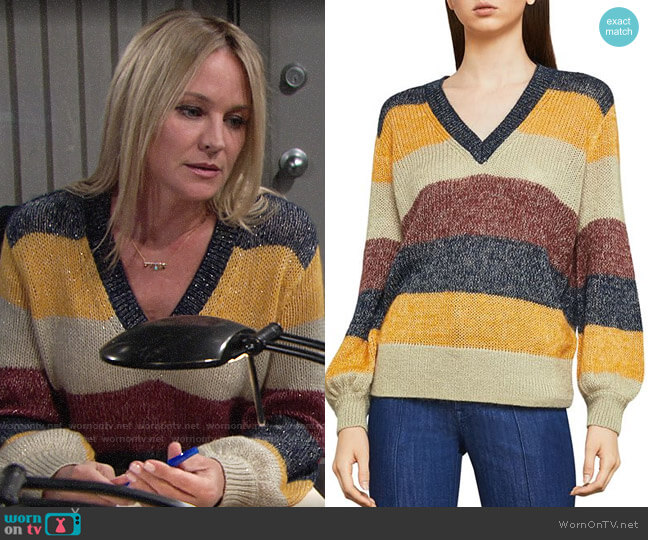 Bcbgmaxazria Metallic Striped Sweater worn by Sharon Case on The Young & the Restless