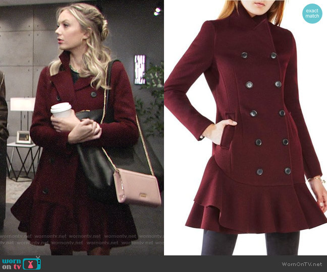 Bcbgmaxazria Talia Coat worn by Melissa Ordway on The Young & the Restless
