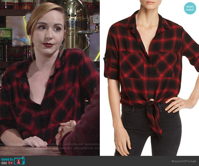 Bella Dahl Tie-Front Plaid Shirt worn by Camryn Grimes on The Young & the Restless