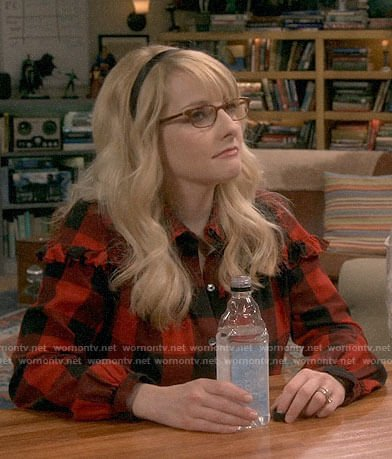 Bernadette's red checked shirt with ruffles on The Big Bang Theory