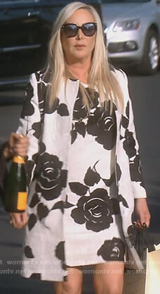 Shannon's black and white floral dress and coat on The Real Housewives of Orange County