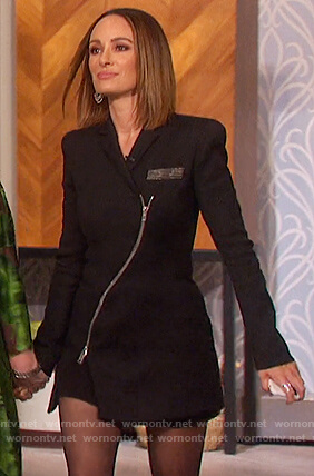 Catt Sadler's black zip front blazer dress on The Talk