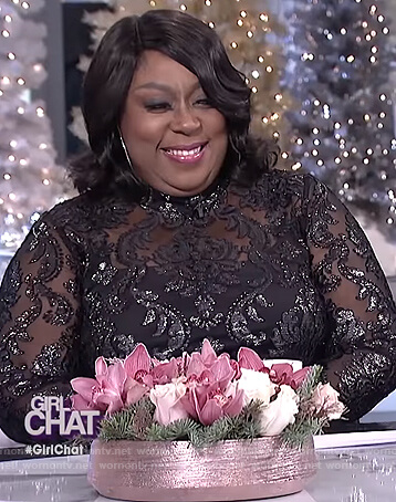 Loni's black damask dress on The Real