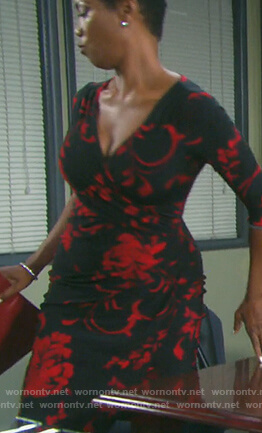 Valerie's black floral faux wrap dress on Days of our Lives