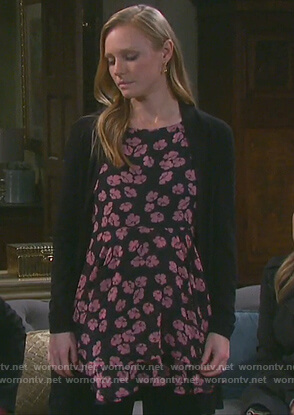 Abigail's black floral print maternity top on Days of Our Lives